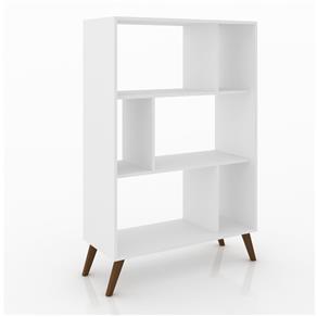 Estante para Livros MovelBento RT3015 Retrô com 6 Nichos e Pés de Plástico - Branco