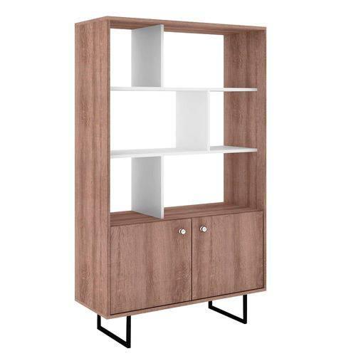 Estante para Livros 2 Portas Contemporânea Rt 3075 Rústico/Branco - Móvel Bento