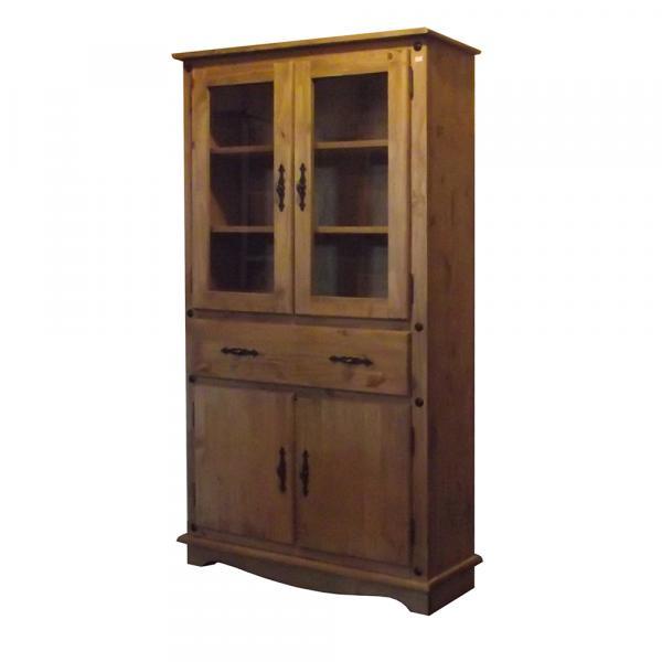 Tudo sobre 'Estante Rústica 2 Portas Maciças + 2 Portas Vidro - Wood Prime Biomóvel 962281'