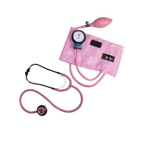 Estetoscópio e Esfigmomanômetro Bic Metal Rosa CJ0611