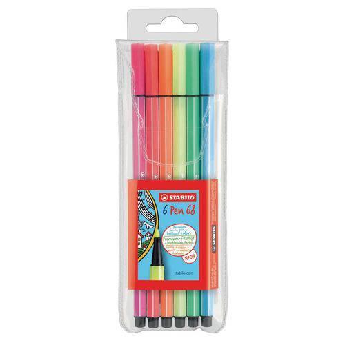 Estojo Caneta Stabilo Pen 68 Neon com 6 Cores