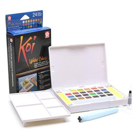 Tudo sobre 'Estojo de Aquarela Koi Water Colors Portátil com Pincel Auto Umedecido - 24 Cores'