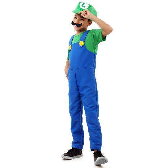 Tudo sobre 'Fantasia Luigi Infantil Luxo - Super Mario P'