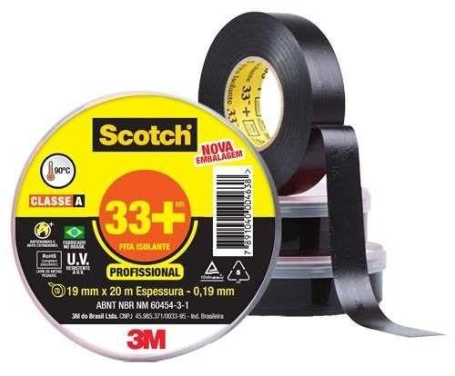 Fita Adesiva Isolante 19mmx20m 33+ Scotch 3M PT