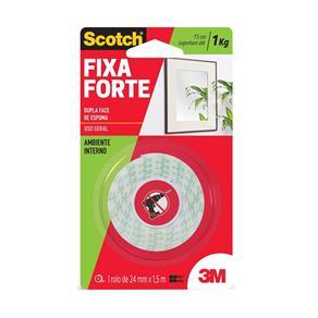 Fita Dupla Face Espuma Adesiva Fixa Forte - Rolo de 24mm X 1,5m Scotch 3M