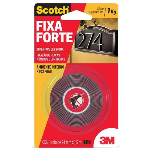 Fita Dupla Face Fixa Forte 1kg 24mm X 1,5m 3m Scotch 15814