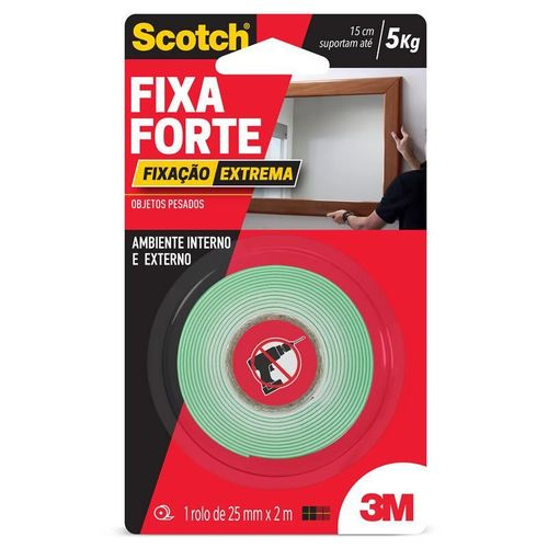 Fita Dupla Face Fixa Forte 5kg 25mm X 2m 3m Scotch 22392