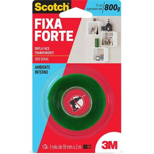 Fita Dupla Face Fixa Forte 800g 19mm X 2m 3m Scotch 21982