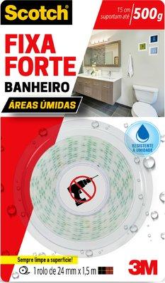 Fita Dupla Face Fixa Forte Banheiro 24mm X 1,5M - 3M