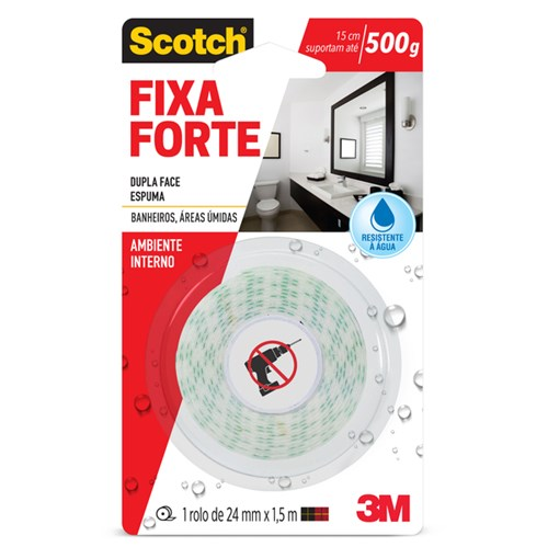 Fita Dupla Face Fixa Forte Scotch Banheiros 24mm X 1,5m 3M