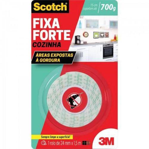 Fita Dupla Face Fixa Forte Scotch Cozinha 24mm X 1.5m 3m