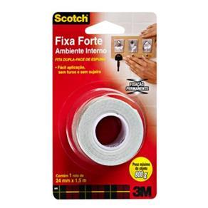 Fita Dupla Face Fixa Forte Scotch Uso Interno 24mm X 1,5m - 3m