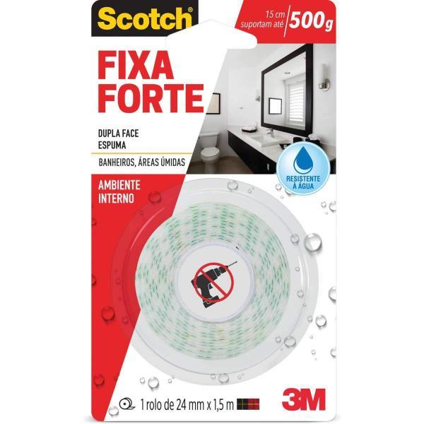 Fita Dupla Face 3M Scotch Fixa Forte Banheiro 024 Mm X 001.5 M HB004488316