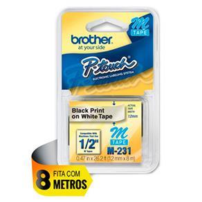 Fita para Rotulador Brother Preto Sobre Branco - M-231