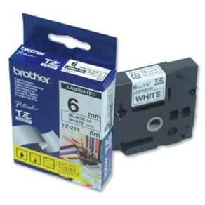 Fita Rotulador Brother 6mm TZ-211 Preto/Branco