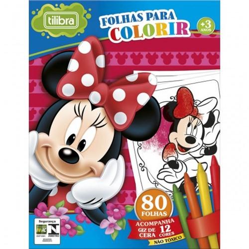 Folhas para Colorir Mini com Giz de Cera Minnie - 80 Folhas 155071