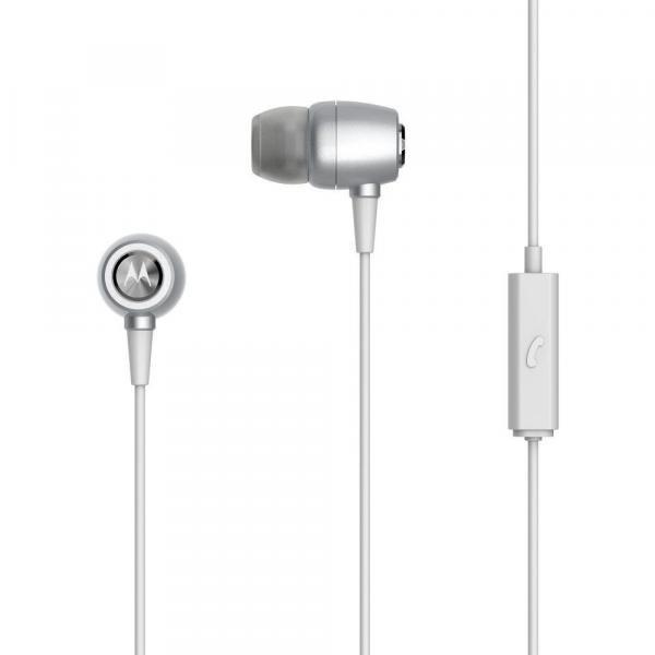 Fone de Ouvido Motorola Earbuds Metal Intra-Auricular com Microfone - Prata