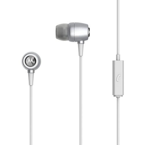 Fone de Ouvido Motorola Earbuds Metal Intra-Auricular com Microfone Prata