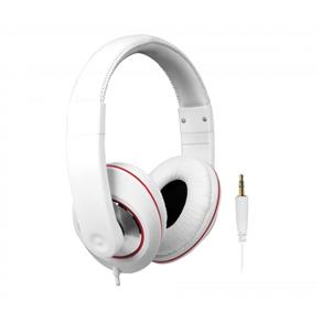 Fone de Ouvido Tipo Headphone DJ para IPad, IPhone, IPod, Smartphones e MP3 Player Branco / Vermelho