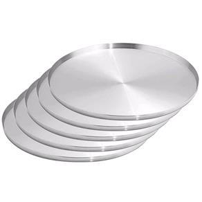 Forma Assadeira Pizza Grande 35Cm Kit 05 Peças - Prata