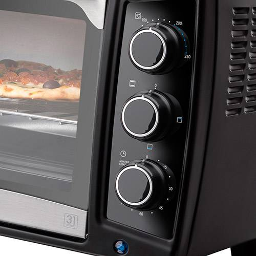 Forno Elétrico Cadence Chef FOR310 31 Litros com Timer 1600W Preto e Inox
