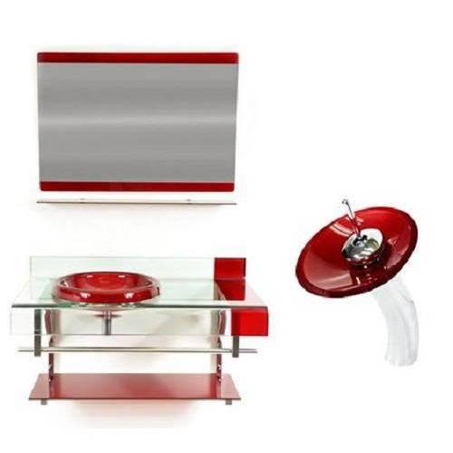 Tudo sobre 'Gabinete de Vidro 70 Cm Vermelho, Torneira Cascata Vermelha'