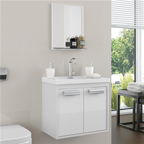 Gabinete para Banheiro Rigel Cerocha Acompanha Cuba e Espelheira Branco