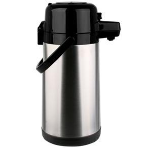 Garrafa Térmica Termopro Pressão em Aço Inox - 1,9L - Inox/Preta