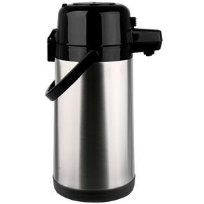Garrafa Térmica Termopro Pressão em Aço Inox - 2,5L - Inox/Preta