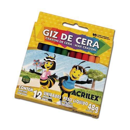 Giz de Cera 12 Cores . 09012 Acrilex Cx 1 Cj