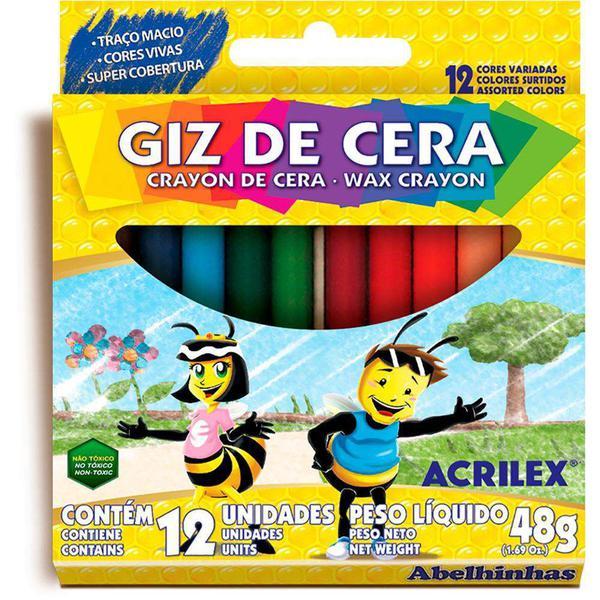 Giz de Cera 12 Cores 09012 Acrilex CX 1 CJ