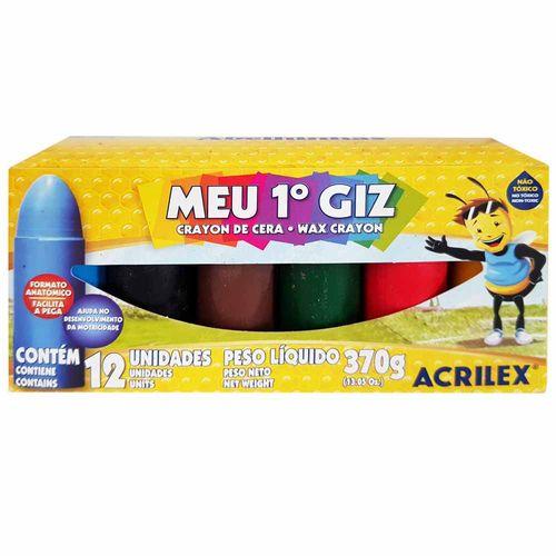 Giz de Cera 12 Cores Meu Primeiro Giz Acrilex 1019133