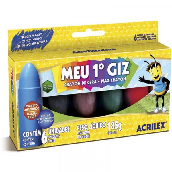 Giz de Cera Acrilex 6 Cores 185g Unitário - 09506