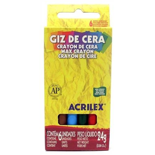 Giz de Cera Acrilex 6 Cores Un 09006