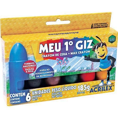 Giz de Cera Acrilex Meu 1º Giz 006 Cores 09506