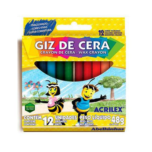 Giz de Cera com 12 Cores - Acrilex