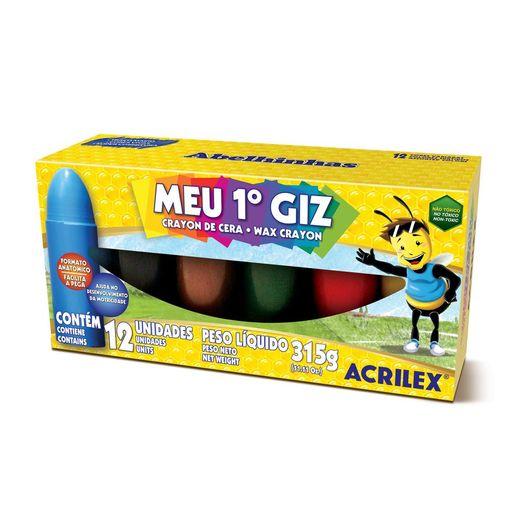 Giz de Cera Meu 1 Giz 12 Cores 370g 09512 Acrilex