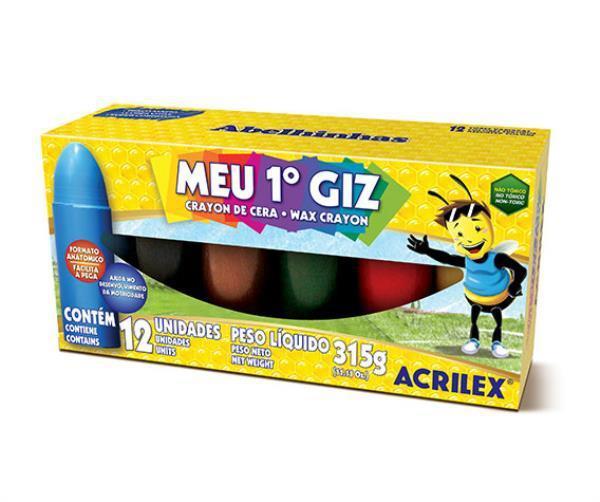 Giz de Cera Meu 1º Giz C/ 12 Cores Acrilex