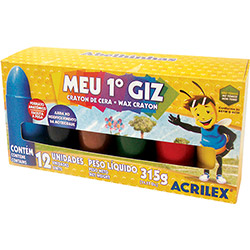 Gizão de Cera Acrilex Infantil 12 Cores