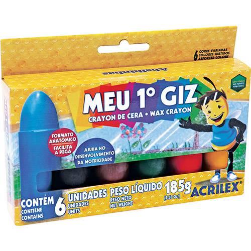 Gizão de Cera Acrilex Infantil 6 Cores
