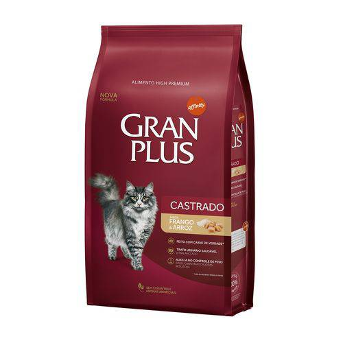 Tudo sobre 'Ração Granplus Gatos Adultos Castrados Frango e Arroz - 1kg'