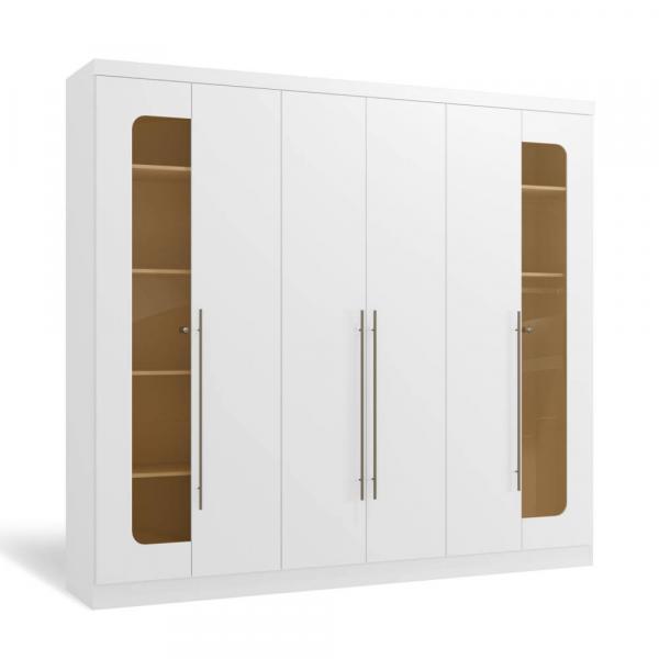 Guarda-Roupa 6 Portas Kappesberg H546 Branco Brilho SE