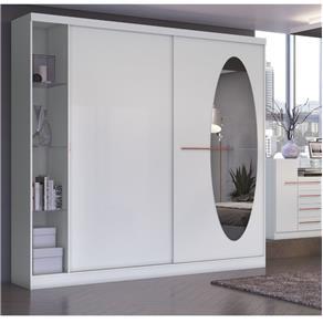 Guarda Roupa Casal com Espelho 2 Portas e Prateleiras em Vidro F537 Kappesberg - Branco