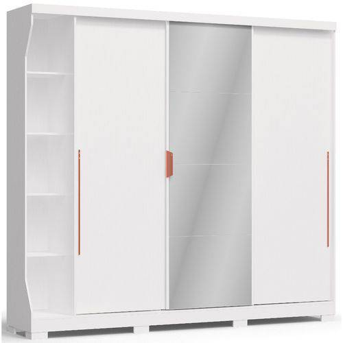 Guarda-Roupa Casal Kappesberg F542 3 Portas de Correr 6 Gavetas e Espelho Branco Brilho