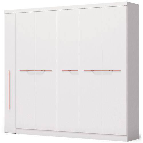 Guarda-Roupa Casal Kappesberg F546 6 Portas 6 Gavetas e Espelho Interno Branco Brilho