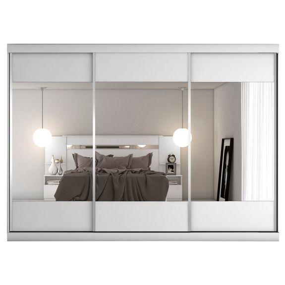 Tudo sobre 'Guarda Roupa Milano 3 Portas Espelhadas - Branco Acetinado'