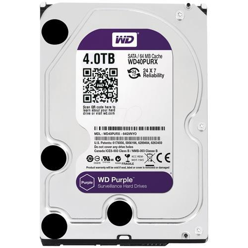HD Interno Western Digital Purple 4TB SATA III 7200RPM 64MB - WD40PURX (Para Vigilância)