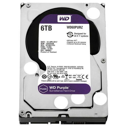 Hd Wd Sata 3,5´ Purple Surveillance 6tb Intellipower 64mb Cache Sata 6.0gb/s - Wd60purz