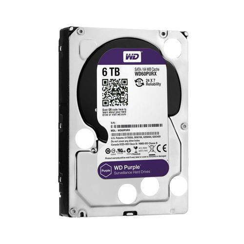 Hdd Interno Wd Purple 6 Tb para Seguranca / Vigilancia / Dvr - Wd60purx
