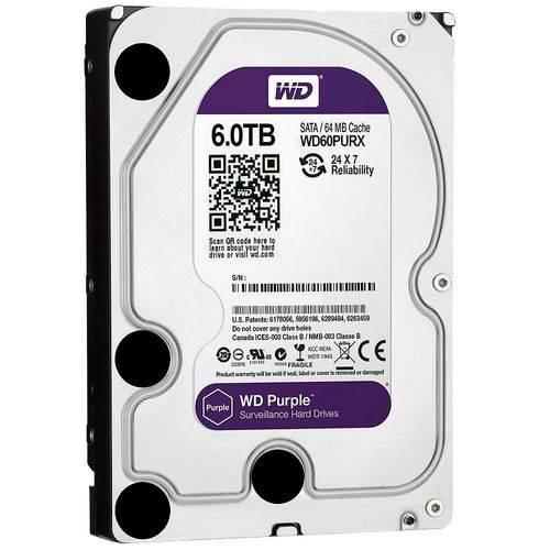 Hdd WD Purple 6TB para Seguranca/ Vigilancia/ DVR